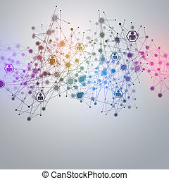 conexões, rede, pretas, branca