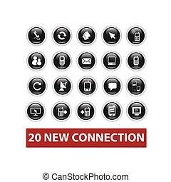 conexión, botones, conjunto, vector