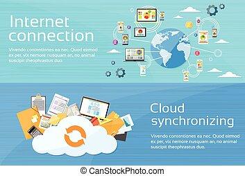 conexión de internet, nube, synchronizing, computadora, dispositivo, red, tela, bandera, conjunto