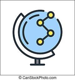 conexión global, icono, color