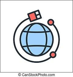 conexión, global, icono, color
