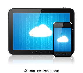 conexión, moderno, nube, dispositivos, informática