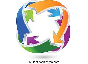 conexiones, logotipo, flechas, empresa / negocio