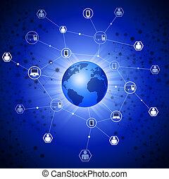 conexiones, tela, global