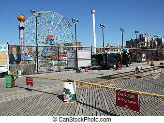 Coney Island Boardwalk repair