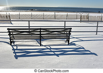 Coney Island Boardwalk with Snow