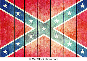 confédéré, bois, grunge, flag.