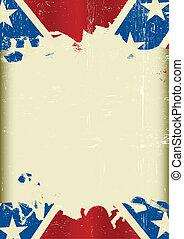 confédéré, grunge, drapeau