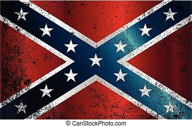 confédéré, guerre civile, grunge, drapeau