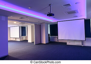 conférence, écrans, présentation, salle