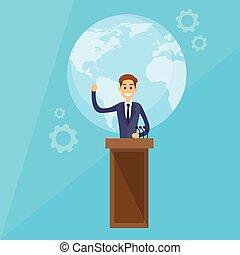 conférence, éditorial, international, vecteur, presse, président, plat
