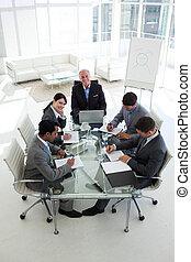 conférence, équipe, affaires ajournent, élevé, autour de, angle, séance