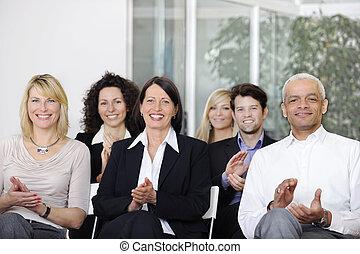 conférence, équipe, applaudir, business, après