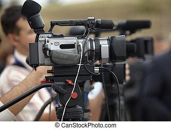conférence affaires, appareil photo, journalisme