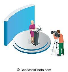 conférence, affaires femme, donner, présentation, illustration, vecteur, tribune, orateur, setting., réunion, ou, parler