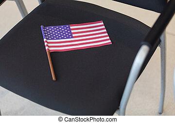 conférence, américain, chaise, drapeau, salle