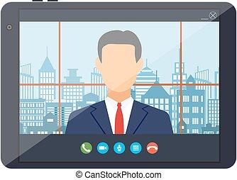conférence, app., internet, pc tablette