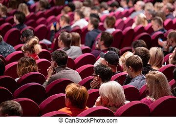 conférence, asseoir, attendees, écouter, business