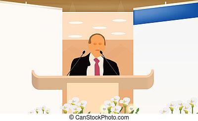 conférence, audience., business, foule, personne, texte, commercialisation, produit, ou, devant, ajouter, écran blanc, présentation, ton