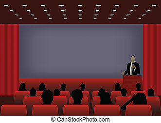 conférence, audience., ou, projection, foule, texte,...