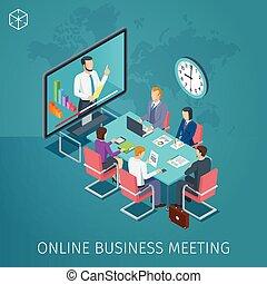 conférence, bannière, business, ligne