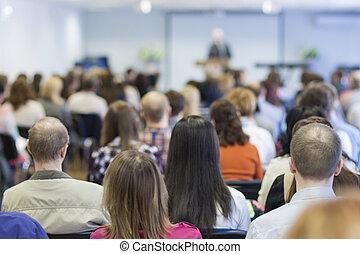 conférence, bisiness, groupe, gens, écoute, salle, concept: