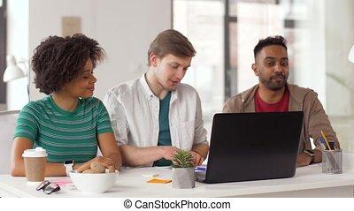 conférence, bureau, créatif, vidéo, équipe, avoir