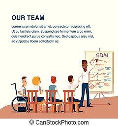 conférence, bureau, fonctionnement, équipe, présentation, ou