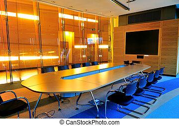 conférence, bureau vide, salle