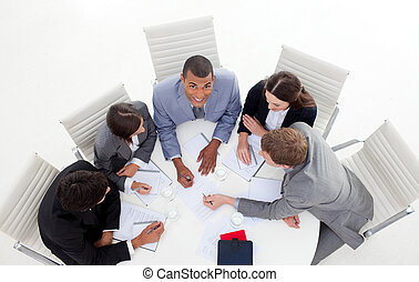 conférence, business, angle, séance, élevé, autour de, groupe