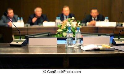conférence, business, asseoir, hommes, unfocused, complet, ...
