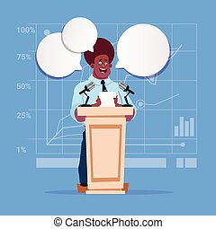 conférence, business, candidat, américain, homme affaires, orateur, africaine, parole, réunion, public, séminaire
