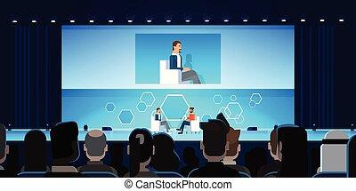 conférence, business, grand, entrevue, audience, devant, réunion, public, homme