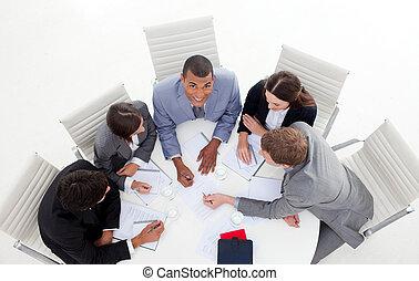 conférence, business, groupe, élevé, autour de, angle,...