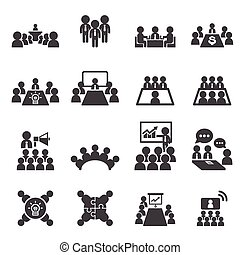 conférence, business, icône