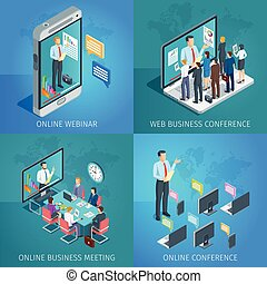 conférence, business, ligne