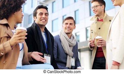 conférence, café, insignes, equipe affaires