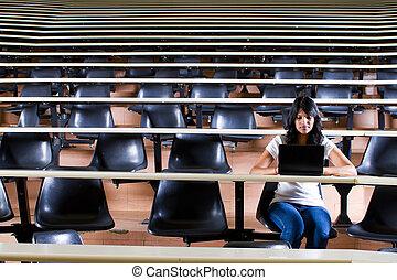 conférence, collège, salle, étudiant