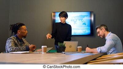 conférence, collègues affaires, discuter, 4k, bureau, salle