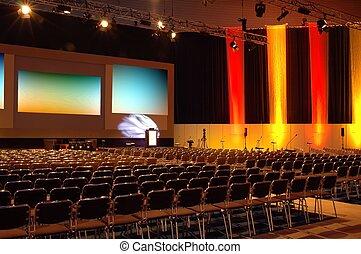 conférence, coloré, salle