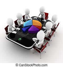 conférence, concept affaires, fond, blanc, homme, 3d