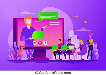 conférence, concept, vecteur, illustration, ligne
