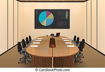conférence, conception intérieur, salle, illustration