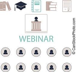 conférence, conférences, formation, webinar, vecteur, ligne, internet.