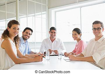 conférence, confiant, table, professionnels