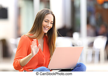 conférence, conversation, ligne, femme, vidéo