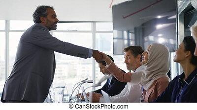 conférence, délégués, mains, business, secousse
