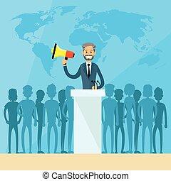 conférence, dirigeants, juif, indien, international, presse, président, arabe