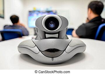 conférence, distance, vidéo, long, communication