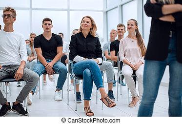 conférence, divers, groupe, gens, jeune, salon